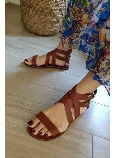 Topukla 2124 Hakiki Deri Bodrum Sandalet Taba